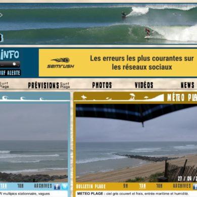 Capture d'écran de la page d'accueil du site Lacanau Surf Info spécialisé dans le reporting vidéo des conditions de surf